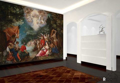 Image of Baptism Of Christ Sylvan Landscape Oil Painting Living Room Art Wall Murals Wallpaper Decals Prints Decor IDCWP-JB-001116