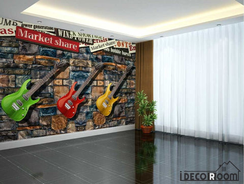 Image of Stone Wall 3D Colorful Electric Guitars Hanging On Wall Living Room Art Wall Murals Wallpaper Decals Prints Decor IDCWP-JB-001117