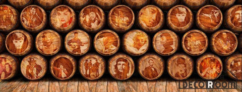 Image of Pile Of Barrel Drawing Famous People Restaurant Art Wall Murals Wallpaper Decals Prints Decor IDCWP-JB-001118