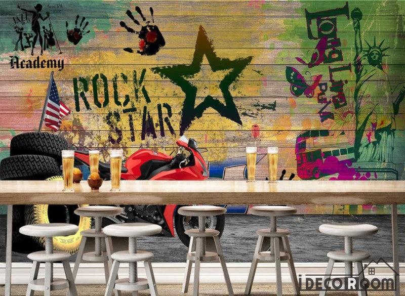 Colorful Wooden Wall Rock Star Drawings Red Motorbike Restaurant Art Wall Murals Wallpaper Decals Prints Decor IDCWP-JB-001120