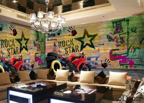 Image of Colorful Wooden Wall Rock Star Drawings Red Motorbike Restaurant Art Wall Murals Wallpaper Decals Prints Decor IDCWP-JB-001120