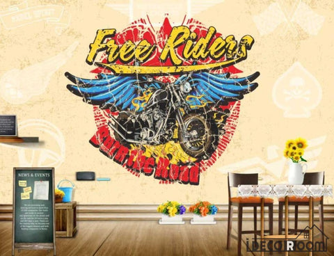 Image of Graphic Design Free Riders Drawing Black Motorbike Wings Restaurant Art Wall Murals Wallpaper Decals Prints Decor IDCWP-JB-001121