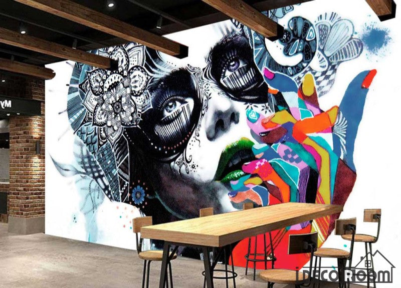 Graphic Design Painting Face Of Woman Colorful Hands Restaurant Art Wall Murals Wallpaper Decals Prints Decor IDCWP-JB-001123
