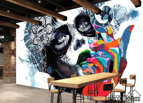 Image of Graphic Design Painting Face Of Woman Colorful Hands Restaurant Art Wall Murals Wallpaper Decals Prints Decor IDCWP-JB-001123