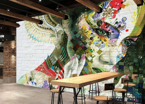 Image of Graphic Design Graffiti Tattoo Girl Restaurant Art Wall Murals Wallpaper Decals Prints Decor IDCWP-JB-001124
