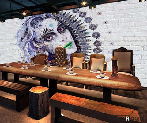 Image of Graphic Design Graffiti Tattoo Girl Restaurant Art Wall Murals Wallpaper Decals Prints Decor IDCWP-JB-001126