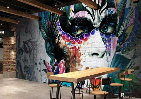 Image of Graphic Design Graffiti Tattoo Girl Restaurant Art Wall Murals Wallpaper Decals Prints Decor IDCWP-JB-001127