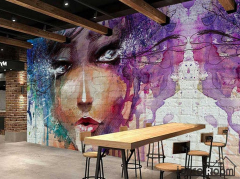 Image of Graphic Design Colorful Drawing Woman Restaurant Art Wall Murals Wallpaper Decals Prints Decor IDCWP-JB-001128