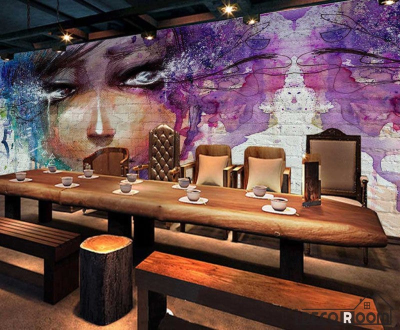 Graphic Design Colorful Drawing Woman Restaurant Art Wall Murals Wallpaper Decals Prints Decor IDCWP-JB-001128