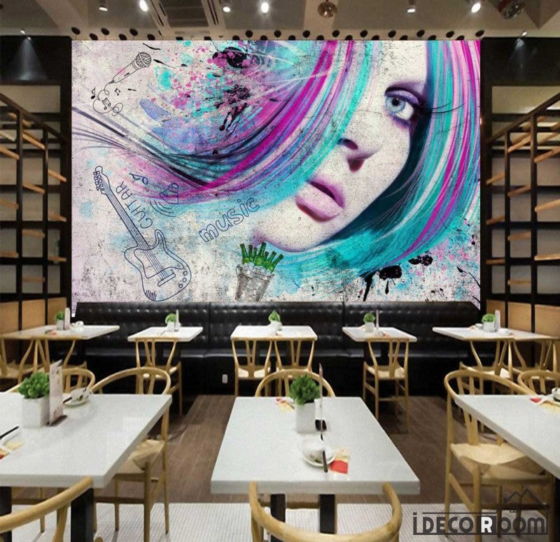 Graphic Design Woman Colorful Hair Restaurant Art Wall Murals Wallpaper Decals Prints Decor IDCWP-JB-001131