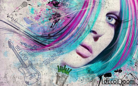 Image of Graphic Design Woman Colorful Hair Restaurant Art Wall Murals Wallpaper Decals Prints Decor IDCWP-JB-001131