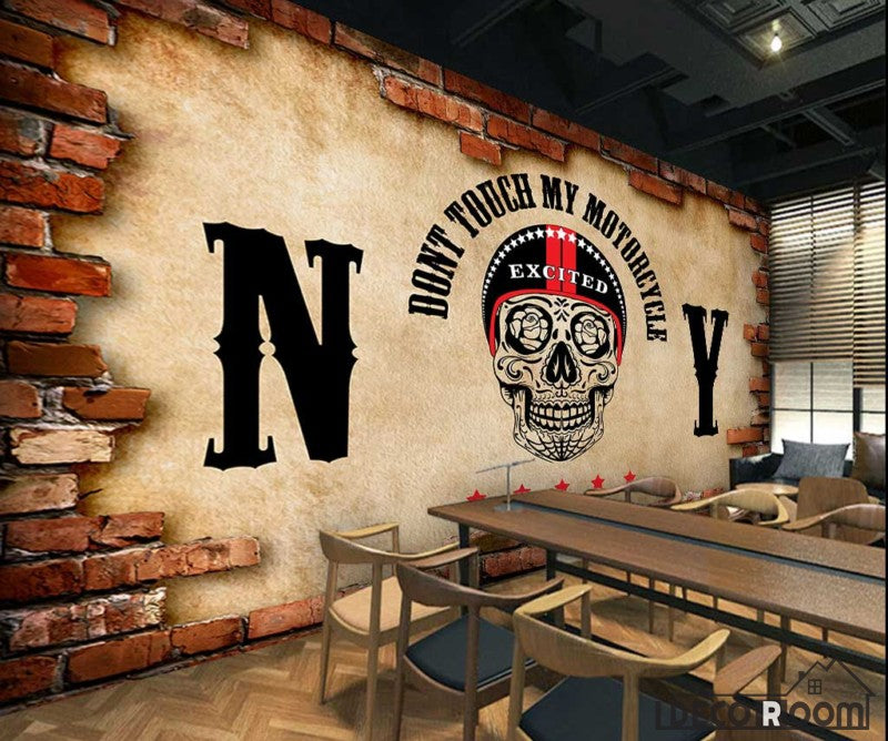 Broken Brick Wall Black Skull Drawing Restaurant Art Wall Murals Wallpaper Decals Prints Decor IDCWP-JB-001132