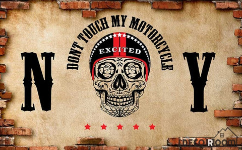 Image of Broken Brick Wall Black Skull Drawing Restaurant Art Wall Murals Wallpaper Decals Prints Decor IDCWP-JB-001132