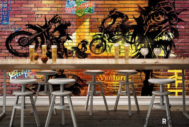 Colorful Brick Wall Black Drawing Motorbike Restaurant Art Wall Murals Wallpaper Decals Prints Decor IDCWP-JB-001133