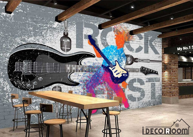 Gray Wall Graphic Design Colorful Drawing Man Playing Electric
