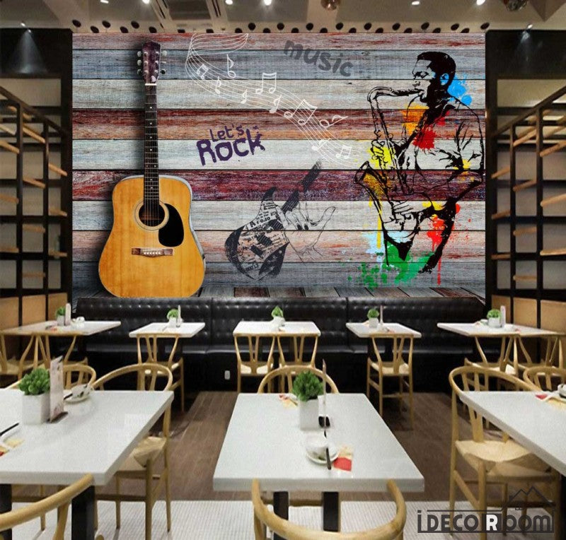 Colorful Wooden Wall 3D Guitar Drawing Man With Saxophone Restaurant