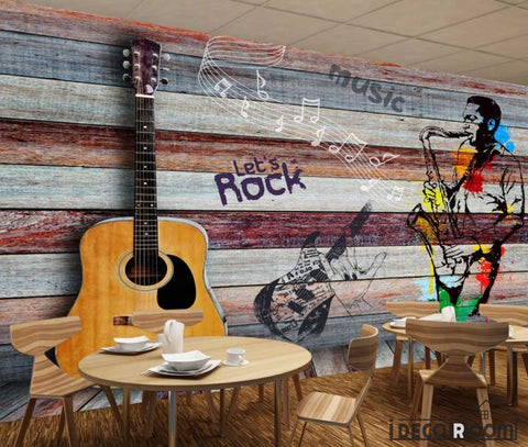 Image of Colorful Wooden Wall 3D Guitar Drawing Man With Saxophone Restaurant Art Wall Murals Wallpaper Decals Prints Decor IDCWP-JB-001135