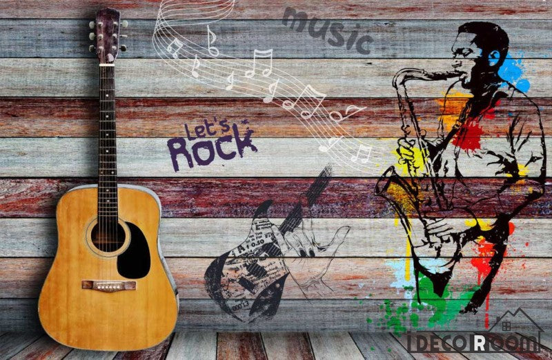 Colorful Wooden Wall 3D Guitar Drawing Man With Saxophone Restaurant Art Wall Murals Wallpaper Decals Prints Decor IDCWP-JB-001135