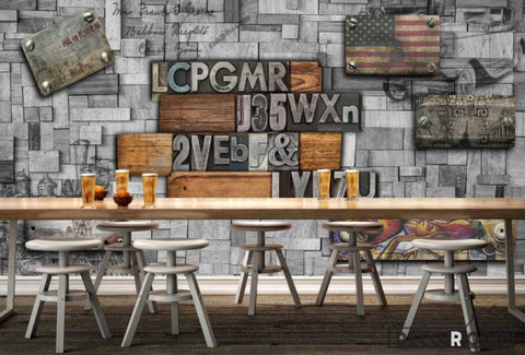 Image of Metal Wall 3D Typographic Letters Usa Flag Restaurant Art Wall Murals Wallpaper Decals Prints Decor IDCWP-JB-001137