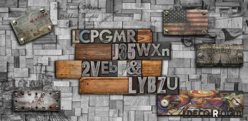 Metal Wall 3D Typographic Letters Usa Flag Restaurant Art Wall Murals Wallpaper Decals Prints Decor IDCWP-JB-001137