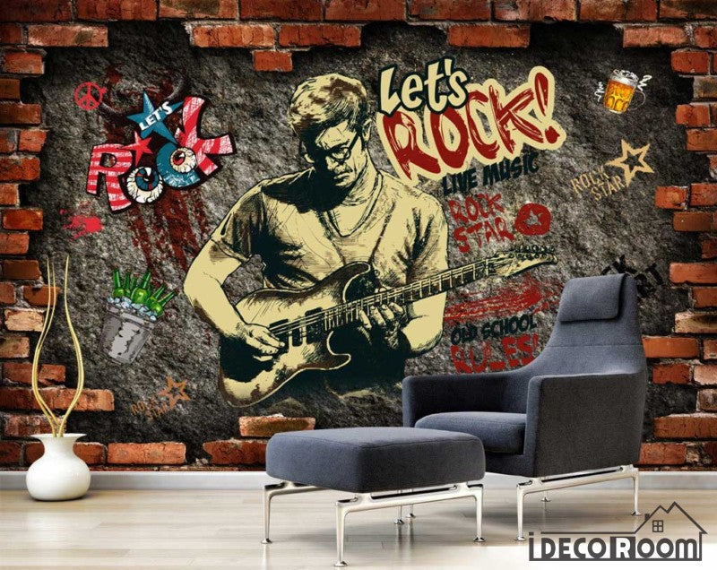 Broken Brick Wall Drawing Man Playing Electric Guitar Living Room Art Wall Murals Wallpaper Decals Prints Decor IDCWP-JB-001139