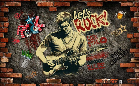 Image of Broken Brick Wall Drawing Man Playing Electric Guitar Living Room Art Wall Murals Wallpaper Decals Prints Decor IDCWP-JB-001139