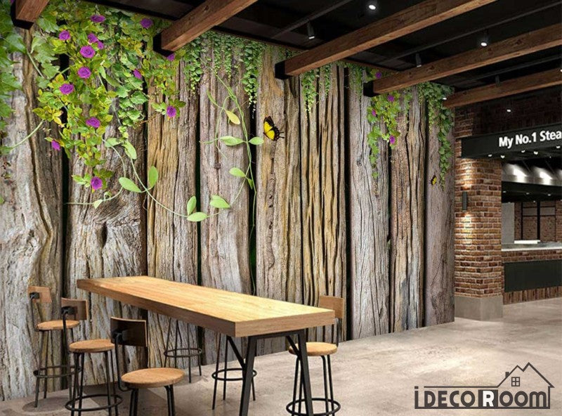 Wooden Wall With Green Leaves Restaurant Art Wall Murals Wallpaper Decals Prints Decor Idcwp Jb 001141
