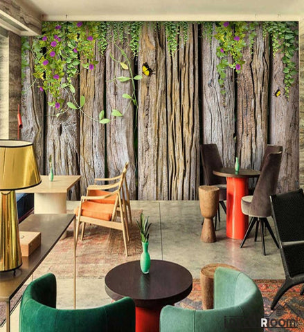 Image of Wooden Wall With Green Leaves Restaurant Art Wall Murals Wallpaper Decals Prints Decor IDCWP-JB-001141
