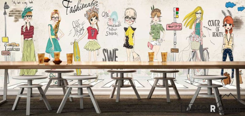 White Wall Drawing Fashion Cartoons Restaurant Art Wall Murals Wallpaper Decals Prints Decor IDCWP-JB-001146