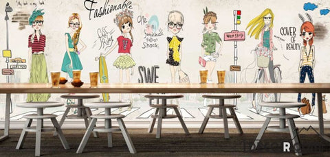 Image of White Wall Drawing Fashion Cartoons Restaurant Art Wall Murals Wallpaper Decals Prints Decor IDCWP-JB-001146