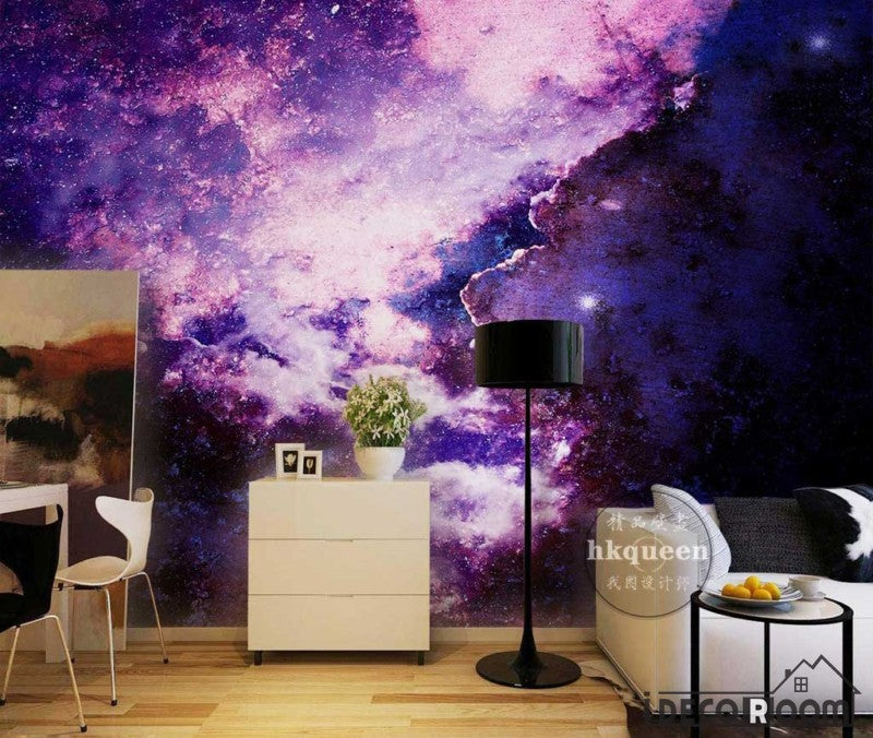 Graphic Design Purple Space Living Room Art Wall Murals Wallpaper Decals Prints Decor IDCWP-JB-001147