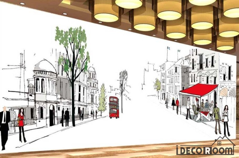 Graphic Design Drawing Street London Ktv Club Restaurant Art Wall Murals Wallpaper Decals Prints Decor IDCWP-JB-001149