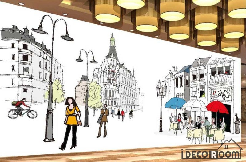 Graphic Design Drawing Street London Ktv Club Restaurant Art Wall Murals Wallpaper Decals Prints Decor IDCWP-JB-001150