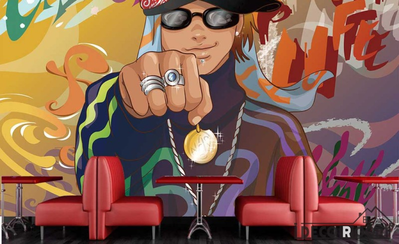 Graffiti Rapper Man Rings Restaurant Art Wall Murals Wallpaper Decals Prints Decor IDCWP-JB-001151