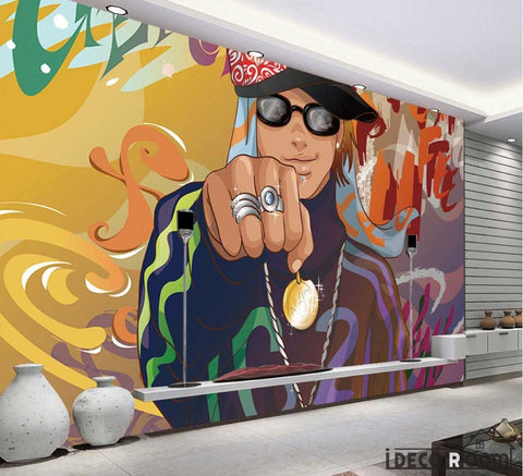 Image of Graffiti Rapper Man Rings Restaurant Art Wall Murals Wallpaper Decals Prints Decor IDCWP-JB-001151
