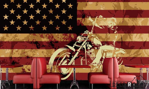 Image of Usa Flag White 3D Motorbike Restaurant Art Wall Murals Wallpaper Decals Prints Decor IDCWP-JB-001152