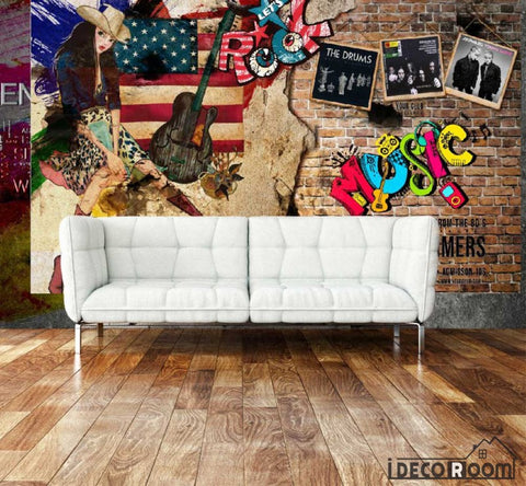 Image of Graphic Design Drawing Cowboy Girl Living Room Art Wall Murals Wallpaper Decals Prints Decor IDCWP-JB-001153