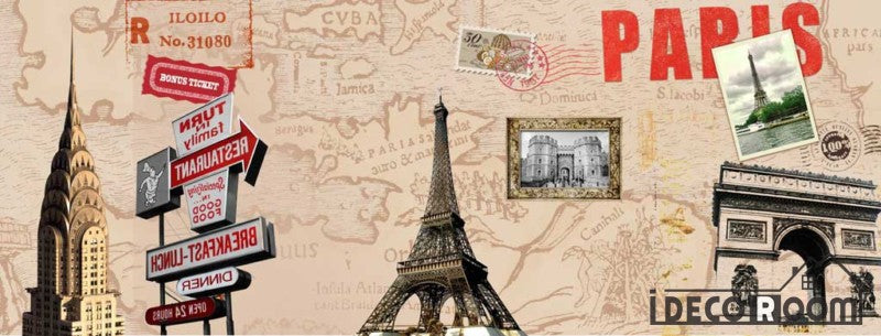 Sepia Drawing Eiffel Tower Collage Restaurant Art Wall Murals Wallpaper Decals Prints Decor IDCWP-JB-001154