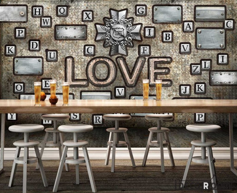 Typographic Letters Love Living Room Restaurant Art Wall Murals Wallpaper Decals Prints Decor IDCWP-JB-001155
