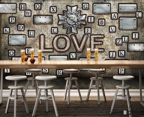 Image of Typographic Letters Love Living Room Restaurant Art Wall Murals Wallpaper Decals Prints Decor IDCWP-JB-001155