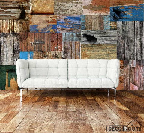 Image of Collage Wooden Walls Living Room Art Wall Murals Wallpaper Decals Prints Decor IDCWP-JB-001157