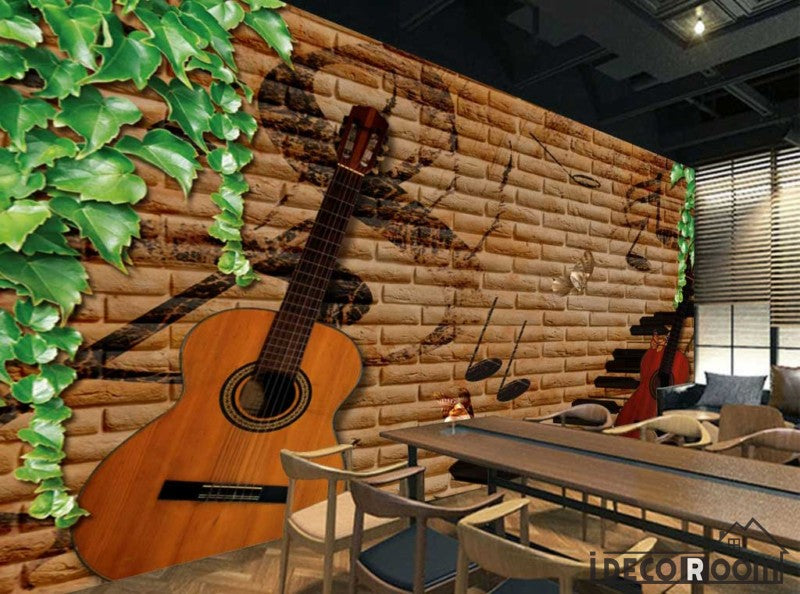 Brown Brick Wall Green Leaves 3D Guitars Restaurant Art Wall Murals Wallpaper Decals Prints Decor IDCWP-JB-001158