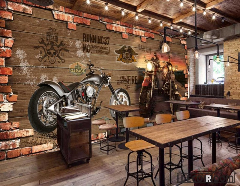Broken Brick Wall 3D Black Motorbike Restaurant Art Wall Murals Wallpaper Decals Prints Decor IDCWP-JB-001159