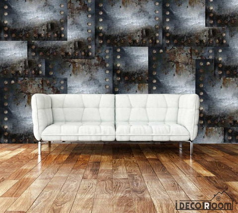 Image of 3D Metal Square Blocks On Wall Living Room Art Wall Murals Wallpaper Decals Prints Decor IDCWP-JB-001162