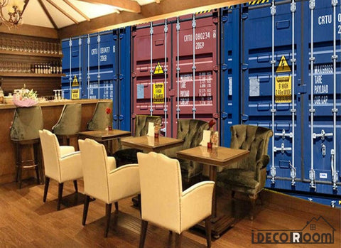 Image of 3D Container Doors Restaurant Art Wall Murals Wallpaper Decals Prints Decor IDCWP-JB-001163