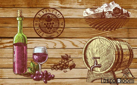 Image of Wooden Wall Drawing Barrel Red Wine Restaurant Art Wall Murals Wallpaper Decals Prints Decor IDCWP-JB-001168