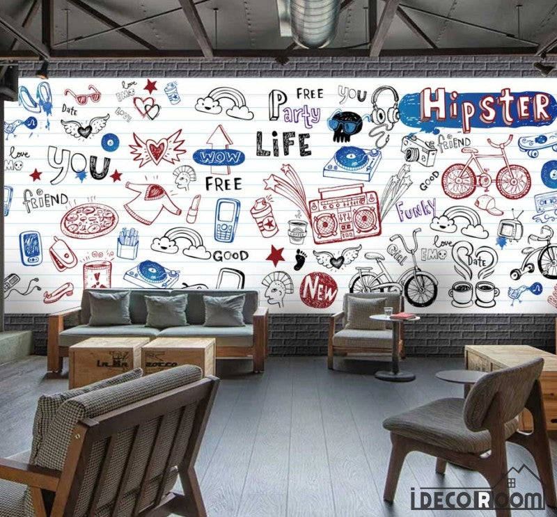 White Wall Hipster Drawing Restaurant Art Wall Murals Wallpaper Decals Prints Decor IDCWP-JB-001169