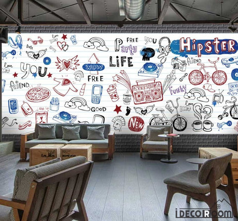 Image of White Wall Hipster Drawing Restaurant Art Wall Murals Wallpaper Decals Prints Decor IDCWP-JB-001169