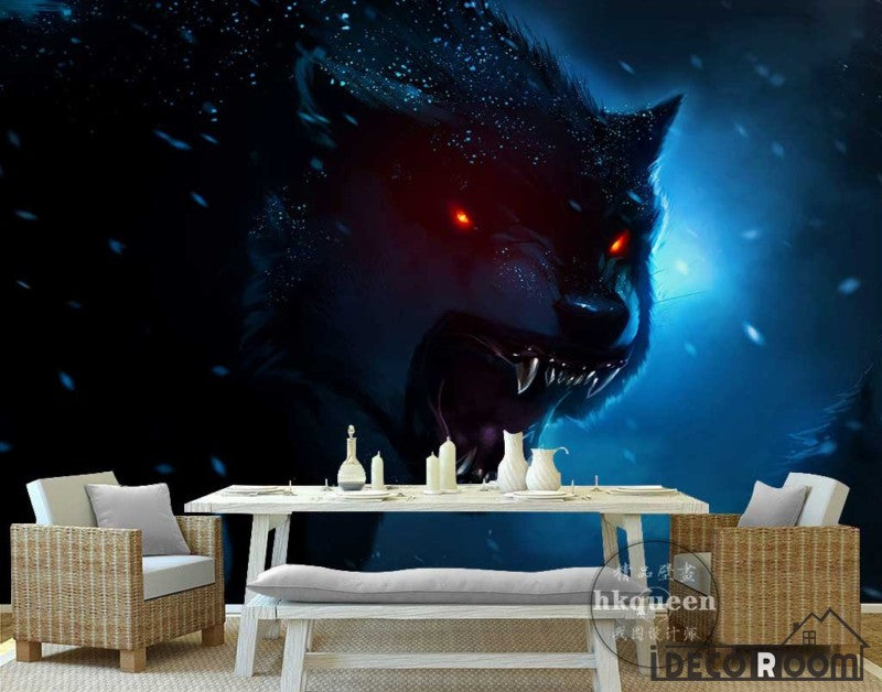 Graphic Design Black Angry Wolf Living Room Art Wall Murals Wallpaper Decals Prints Decor IDCWP