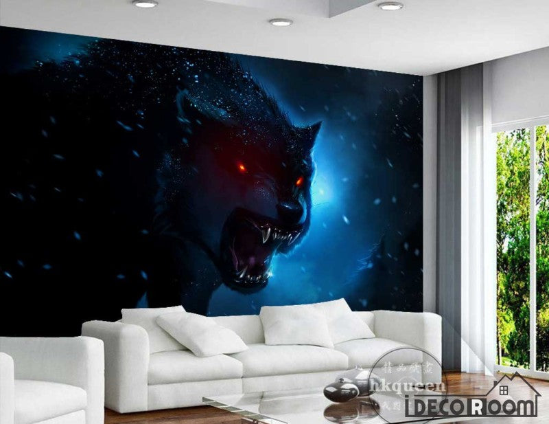 wolf wallpaper mural  Graphic Design Black Angry Wolf Living Room Art Wall Murals ...